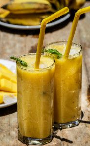 Ripe  Banana and Mango Smoothie